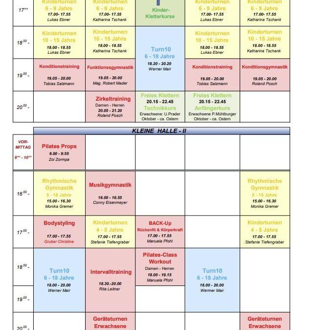 Trainingsplan – Wintersemester 2021/22